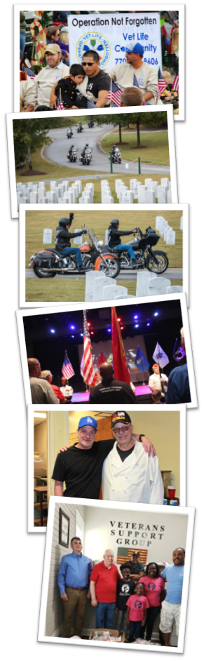 Composite pictures of Paulding Woodstock and McDonough VLCs in Christmas parade. American Legion Riders fundraising ride and MCDonough meetings